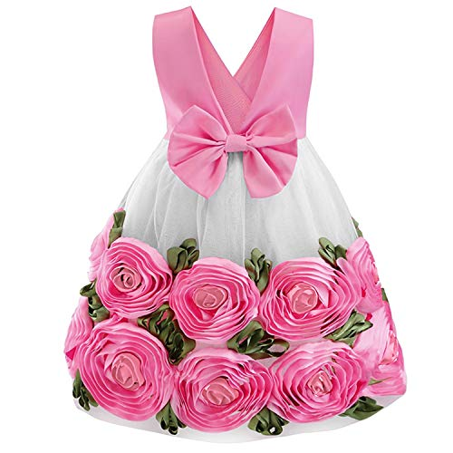 Baby Girl Princess Wedding Party Dresses Children Kids Christmas Costume Clothing,D0588-Rose,5 ()