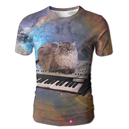 Dog Shark Costume Uk (Men Cat In Space Wallpaper3 3D Graphic T-Shirt Leisure Tees Large)