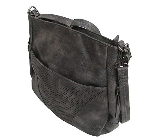 Schulterglück Carla 3 große Damen Tasche dunkelgrau, Damen Shopper grau, 5 Fächer, langer Trageriemen, 34x34x9 cm