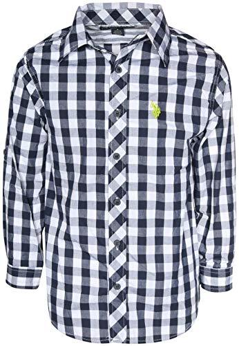 (U.S. Polo Assn. Boys Long Sleeve Woven Button Down Shirt, Navy Plaid, Size 18')