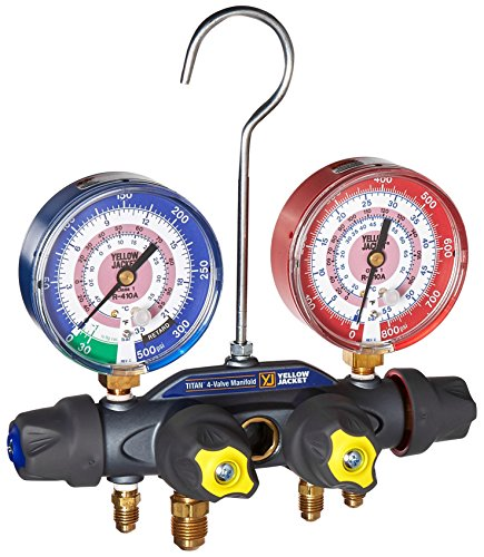 Yellow Jacket 49969 Manifold5/16-3/8-1/4-5/16 Anchor Fittings degrees F bar/psi Scale R-410A Refrigerant Red/Blue Gauges