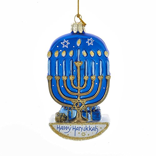 Kurt Adler Kurt S. Adler 4.5-Inch Noble Gems Glass Hanukkah Menorah Ornament -