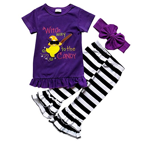 So Sydney Girls Halloween Short Sleeve Witch Way to The Candy Ruffle Outfit (XS (2T), Witch Way Purple)]()