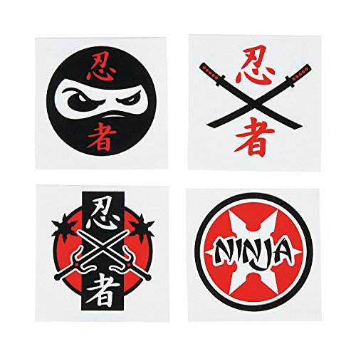 Fun Express Assorted Ninja Warrior Temporary Tattoos - 72 Piece Pack