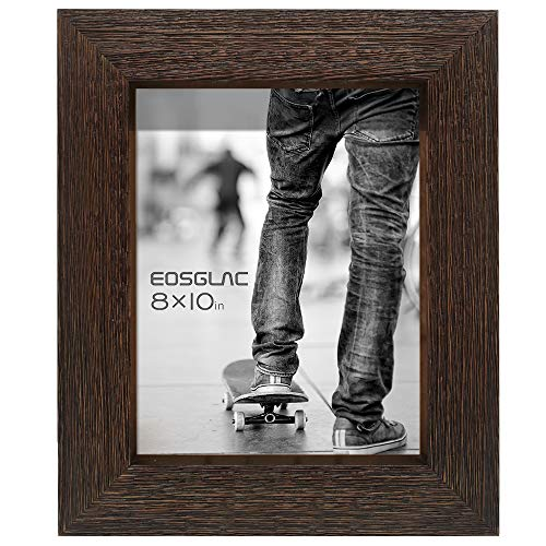 Eosglac Rustic Picture Frame 8x10, Weathered Dark Brown Reclaimed Look Wooden Photo Frame, Tabletop or Wall Mounting Display (Reclaimed Table Tops)