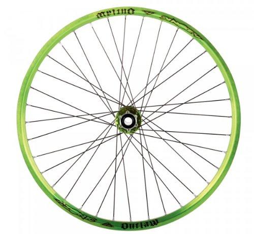 Azonic Outlaw 32 Spoke 135mm Wheelset, Anodized Green/Black, 26-Inch/Medium