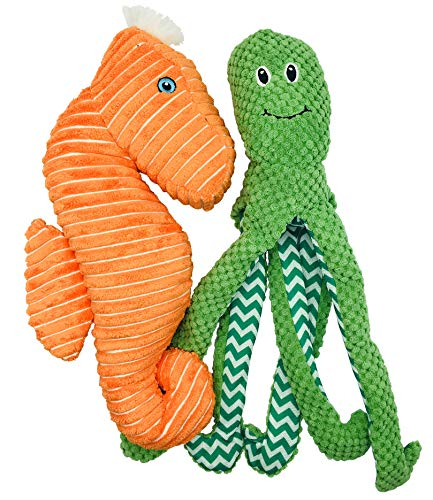 Rosy's Choice Plush, Squeaky, Crinkly 2 Pack Medium to Large Dog Toy Set