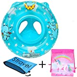 Baby Pool Float for 3-36 month Kids with Double Handle,Infant Inflatable Swim Ring Float Tube,Bathtub Toys Swimming Pool Accessories for Baby Kids Pool,Bathtub,Outdoor (Blue type 1)
