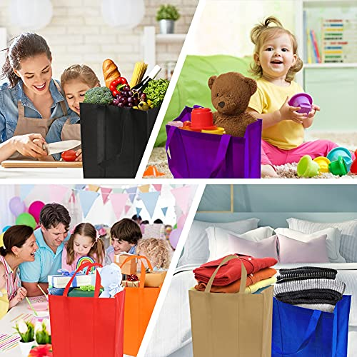 Shindel 12 Pack Tote Gift Bags, Reusable Grocery Tote Bag 15x13 inch Large Non-Woven Bag with Thick Plastic Support Bottom, for Shopping Bags Stand Up Bottom Large Gift Bags, 12 Colors