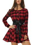 uxcell Women Ruffled Design Plaid Print Casual Shirt Dress w Belt L Red Black