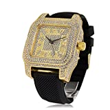 Bling King Extra Large Gold Plated Iced Out Square Bezel Silicone Strap Hip Hop Bling Watch