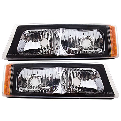 Park Signal Front Marker Lights Lamps Driver and Passenger Replacements for Chevrolet Silverado Avalanche Pickup Truck 15199556 15199557