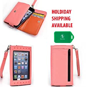 Xposed Universal wallet phone case with decorative front view window in Light pink and Salmon Coral for Jitterbug Touch 2