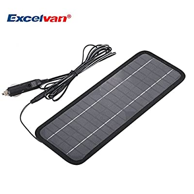 Excelvan 12V 4.5W Portable Car Solar Battery Charger Panels with Cigarette Lighter Plug Mono Crystalline Silicon Motorcycle Solar Panels Charger