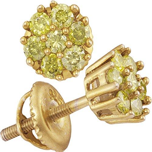 1/2 Ct Diamond Flower Earrings - 2