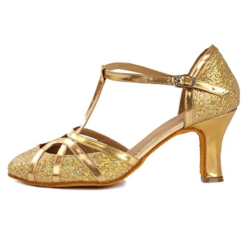 da Scarpe latino Model da Ballroom Donna Tacco 7cm ballo standard ballo Leather Scarpe SWDZM Oro IT511 HIwa0qE0