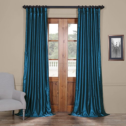 Blue Dupioni Silk (Half Price Drapes Pdch-KBS27-96 Vintage Textured Faux Dupioni Silk Curtain, 50 x 96, Oceanside Blue)