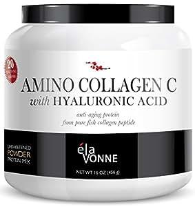 Elavonne Amino Collagen C with Hyaluronic Acid Fish Collagen Peptide Powder, 16 oz