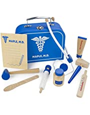 Doctor Kit for Kids Playset (10 pcs) - Dr. Maple's Wooden Wonders Pretend Play Wood Toy Doctor Kit - Doctor, Nurse & Vet Play Medical Bag for Toddlers - Includes Medicine, Ointment, Tools & Med Chart