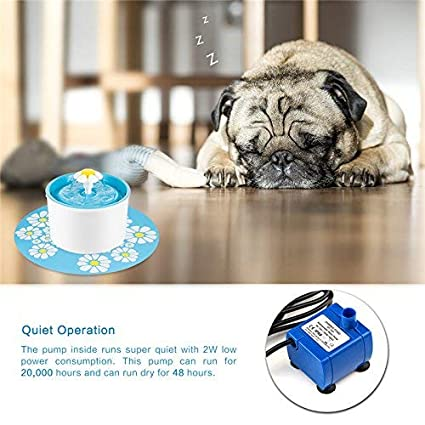 Cube Cats Healthy and Hygienic Drinking Water Flower Fountain Super Quiet Automatic Electric Water Bowl for Dogs Birds and Small Animals Blue Spardar Pet Fountain Cat Water Dispenser