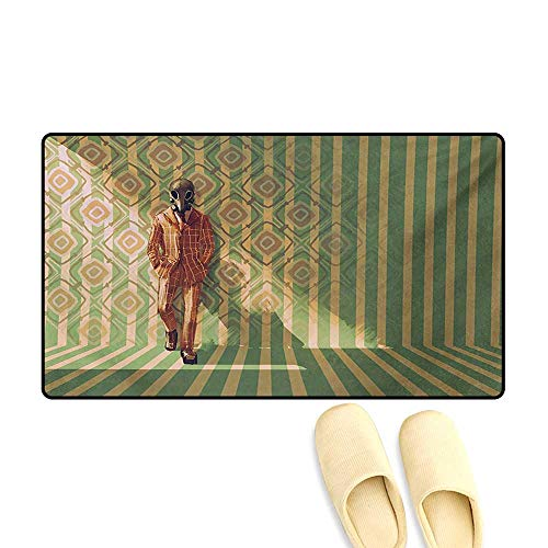- Door-mat,Myserious Fashion Man with Gas Mask Fancy Suit Before Retro Wall Kitsch Artwork,Bath Mats for Floors,Orange Green,32
