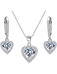 925 Sterling Silver Cubic Zirconia Love Heart Bridal Pendant Necklace Leverback Earrings Set