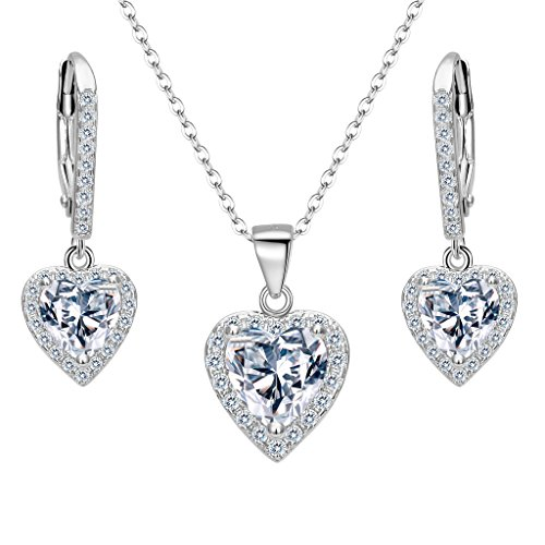 EleQueen 925 Sterling Silver Cubic Zirconia Love Heart Bridal Pendant Necklace Leverback Earrings Set ()