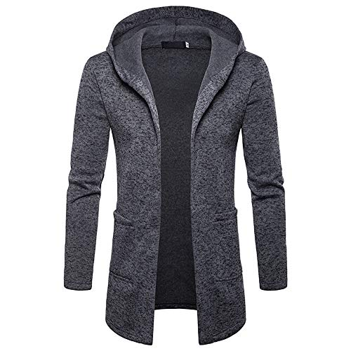 Alimao 2019 New Hooded Coat Cardigan Sweaters For Men Solid Trench Jacket Outwear Blouse (X-Large, New Dark Gray)