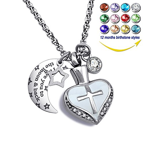 YOUFENG Urn Necklaces for Ashes I Love You to The Moon and Back Cross Necklace Birthstone CZ Keepsake Pendant (April Birthstone -