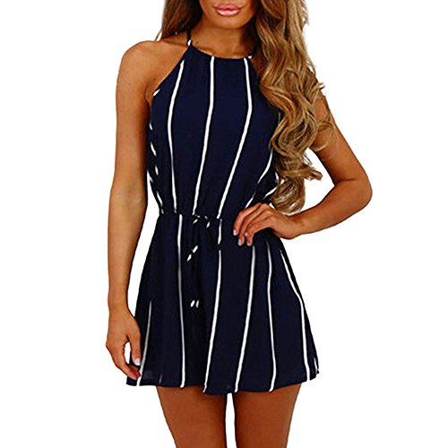 (Vowes Women's Stripe Printing Playsuit Summer Short Sleeve Romper Casual Loose Striped Short Rompers Jumpsuits with Pockets )