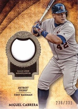 Cabrera Miguel Games (2017 Topps Tier One Relics #T1R-MC Miguel Cabrera Game Worn Jersey Baseball Card - Only 331 made!)