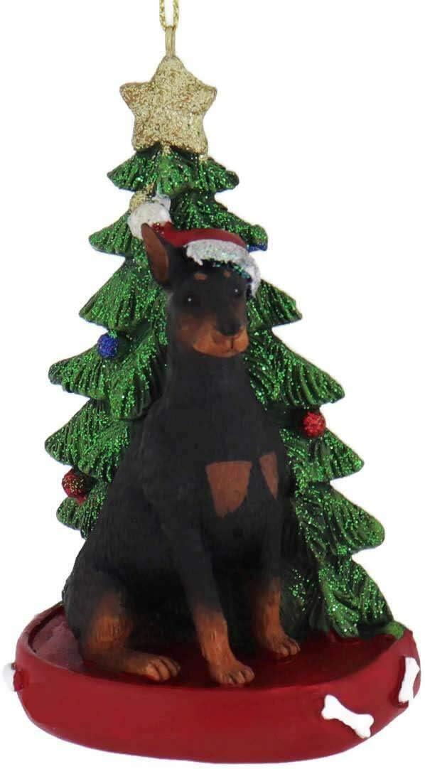 Kurt Adler DOBERMAN Puppy with Bone Personalizable Christmas Ornament