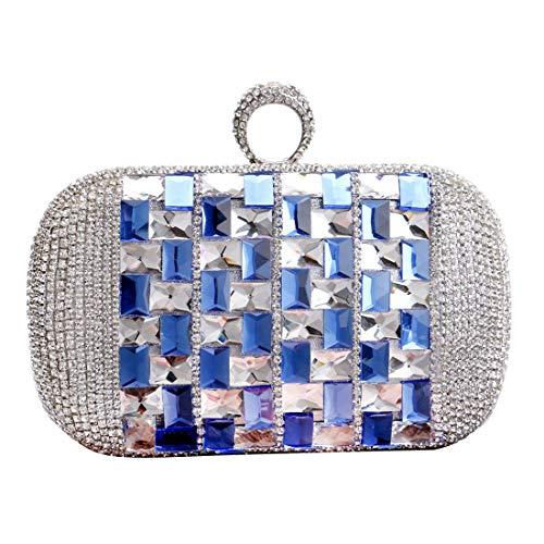 Luckywe de à Femmes exquis Sac de à soirée dembrayage concepteur Dîner Bague Bleu main diamants tqtrfxvwZ