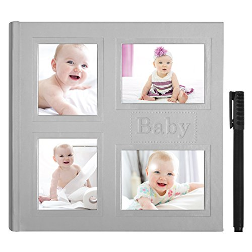 Grey Embossed Baby Photo Album - Holds 200 Photos - Fits Photos Size 4x6 inches - Ultra-Fine Tip Pen Included