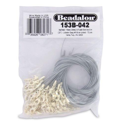 Clasp Wire (Beadalon Bead Ready 72-Piece 7-Strand, Satin Silver, Lobster Nickel Free Silver Plate)