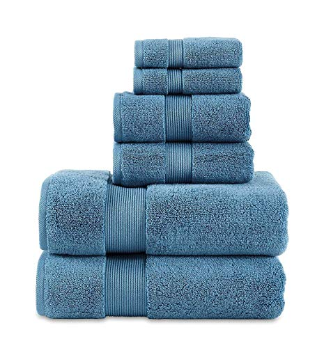 "703 GSM 6 Piece Towels Set, 100% Cotton, Zero Twist, Premium Hotel & Spa Quality, Highly Absorbent, 2 Bath Towels 30"" x…"