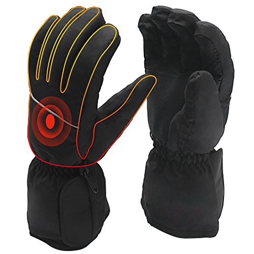 Price comparison product image QILOVE Electric Battery Heated Rechargeable Gloves,Motorcycle Hunting Outdoor Gloves,Stylish Black Electric Heating Gloves for Men and Women
