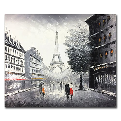 Muzagroo Art Oil Paintings Hand Painted Paris Eiffel Tower Wall Pictures Stretched (Black and White) (Paris Wall Pictures)