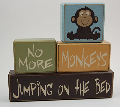 NEW! No More Monkeys Jumping On The Bed- Primitive Country Wood Stacking Sign Blocks Monkey Birthday-Moneky Nursery Decor-Monkey Baby Shower-Jungle Theme Home Decor