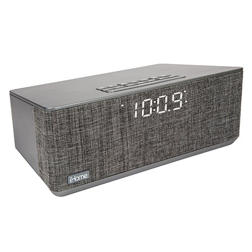 iHome Compact Bluetooth Dual Alarm Clock Radio with Large Display Speakerphone & Lightning Dock