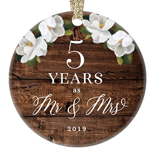 5th Fifth Wedding Anniversary 2019 Christmas Holiday Ornament Mr. & Mrs. Porcelain Collectible Five Years Married Husband Wife Rustic Country Keepsake 3