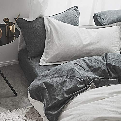 Joyreap 3 Pieces Duvet Cover Set King, 100% Washed Cotton, Ultra Soft, Breathable & Cozy, Simple Reversible Solid Color Duvet Cover with Zipper Closure & Corner Ties (White-Gray, King)