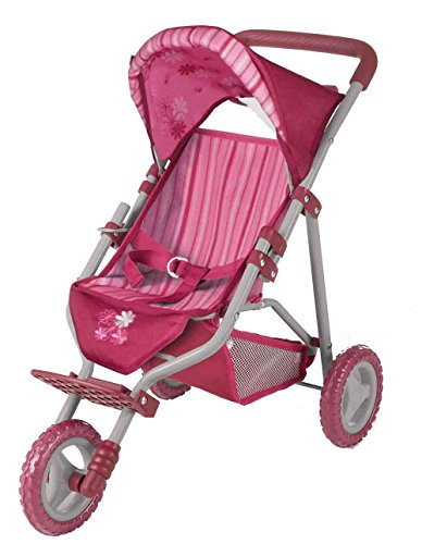 Gotz Three-Wheel Jogging Stroller with Canopy & Storage Basket for Dolls up to 20