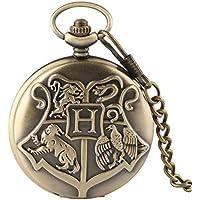 Bronze Copper Harry Potter Hogwarts School of Witchcraft Wizardry Quartz Pocket Watch with Chain for Men Women Children
