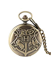 Bronze Copper Harry Potter Hogwarts School of Witchcraft Wizardry Quartz Pocket Watch with Chain for Men Women Children - Ahmedy Pocket Watch