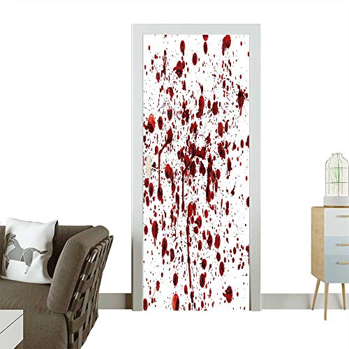 Art Door Stickers of Blood Style Bloodstain Horror Scary Zombie Halloween Themed Print Red White Door Decals for Home Room DecorationW17.1 x H78.7 INCH ()