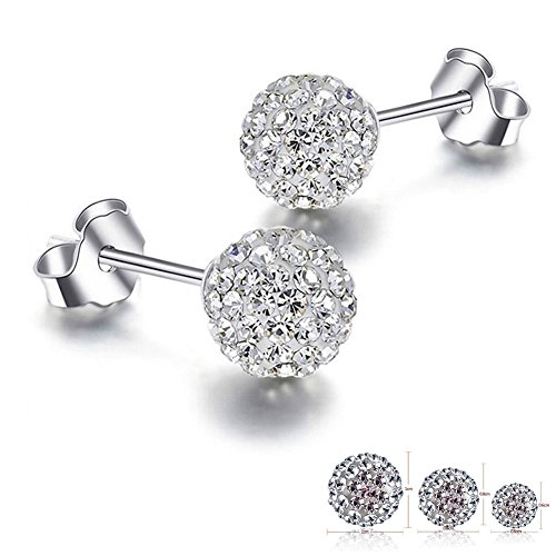 Pave Crystal Disco ball Earrings Stud Silver for Women -8mm- Shamballa Inspired By Rivertree Jewellery