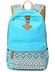 Dosane Stylish Unisex Canvas Dot Printing Lightweight College Backpacks Book bags