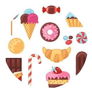 alfombrilla de ratón Conjunto de colores diferentes de caramelos, dulces y pasteles. - ronda - 20cm
