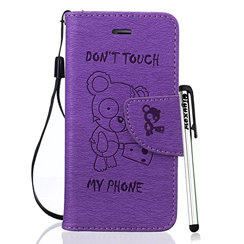 6S Case, iPhone 6 Flip Case, Qiyuxow [Drop Protection] Diary Wallet Case Purple Embossed Kind Bear Style W/ [ID Card / Cash Slot] [Wrist Strap] Dual-Use Design Kickstand Flip Cover ()